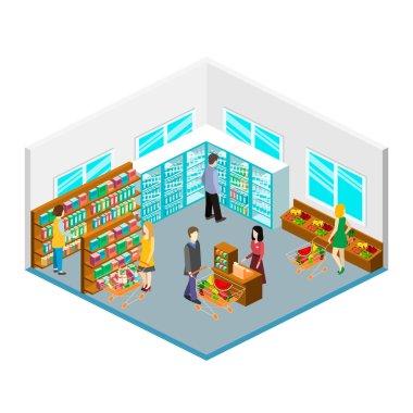 Isometric interior of grocery store.