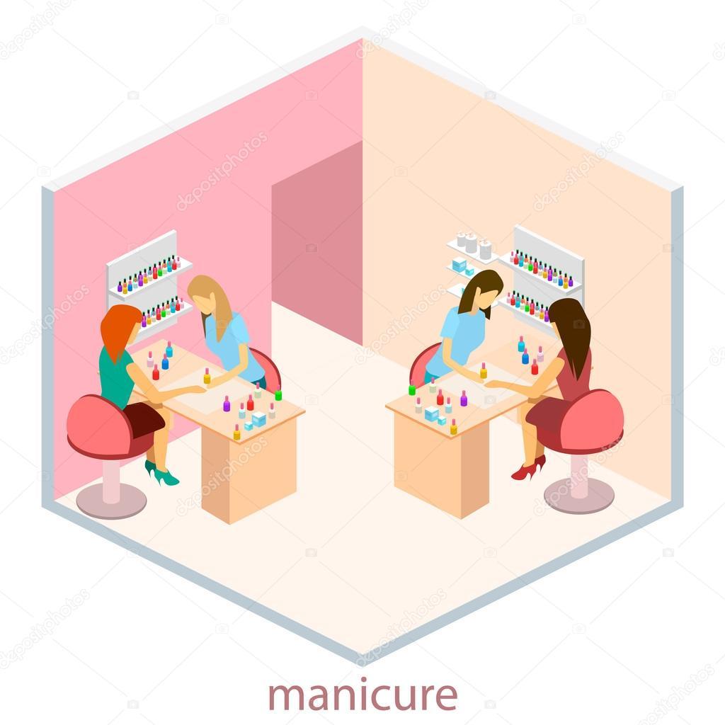 Isometric interior of nail salon — Stock Vector © reenya #122019890