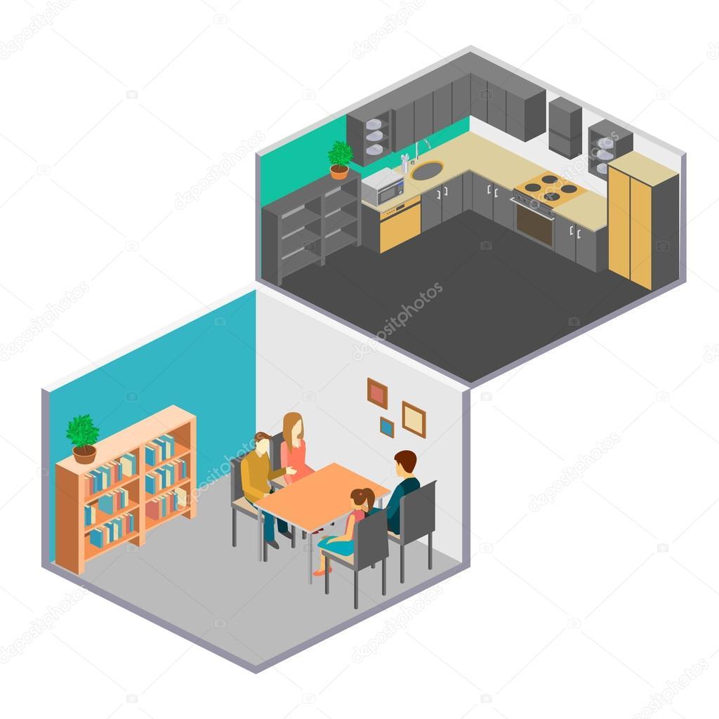 Isometrische Interieur der Zimmer im Haus — Stockvektor © reenya ...
