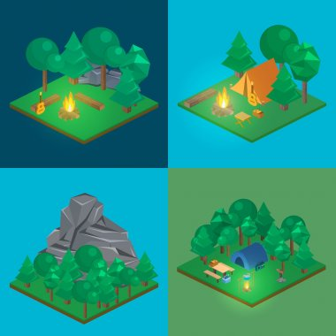 Isometric landscape for camping