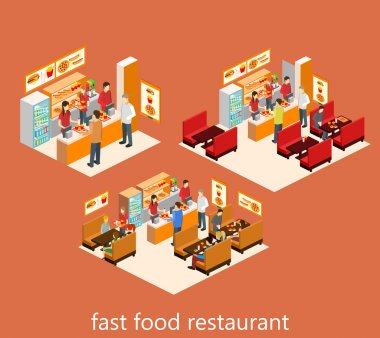isometric fast food restaurant