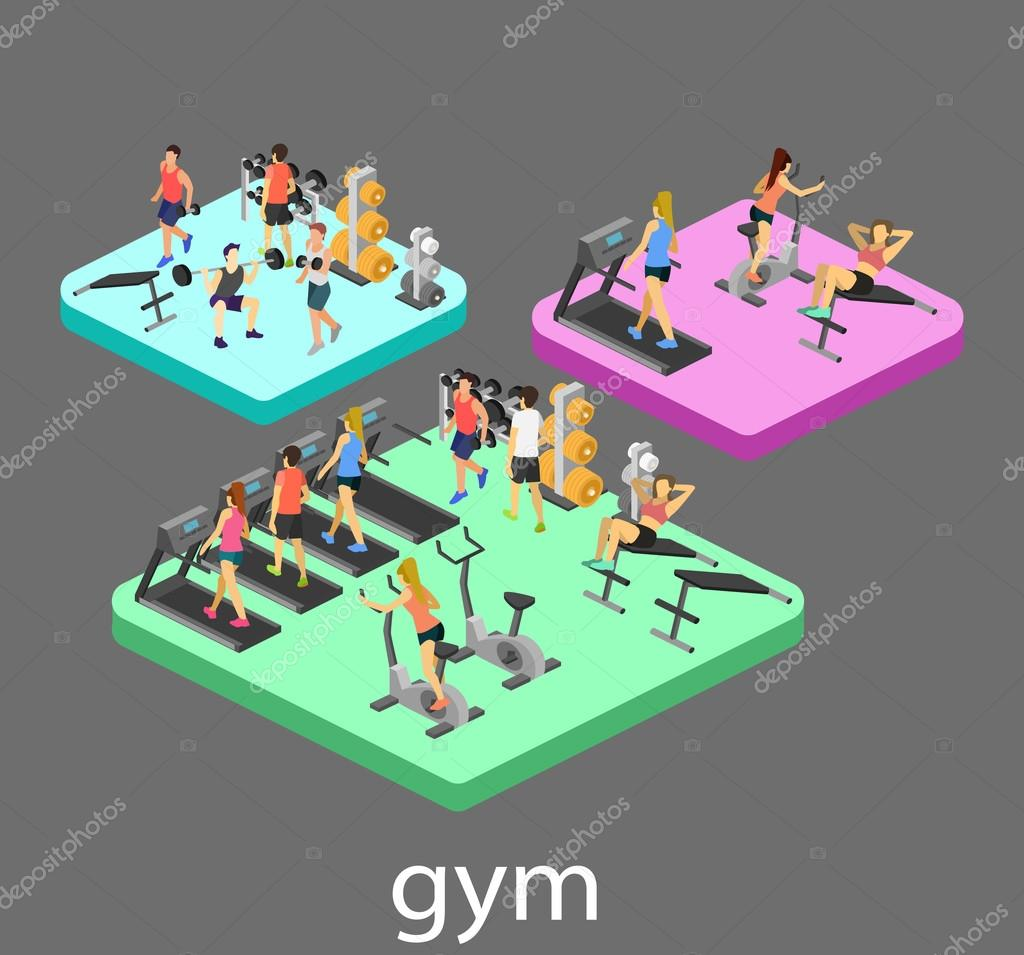 Isometric interior of gym  People involved in sports — Stock Vector