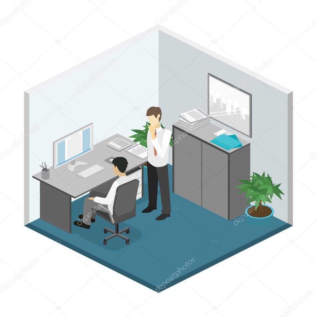 Isometric office floor interior departments