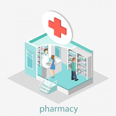 Isometric interior of pharmacy.