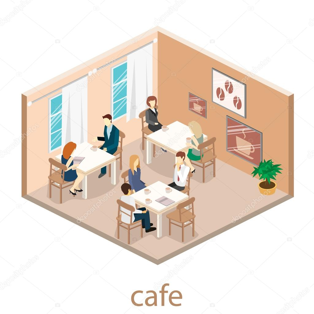 Isometric interior of coffee shop.