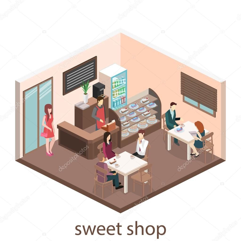 Isometric interior of sweet-shop.