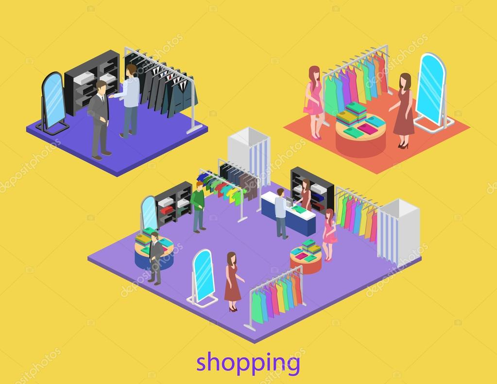 Isometric interior of shoping mall