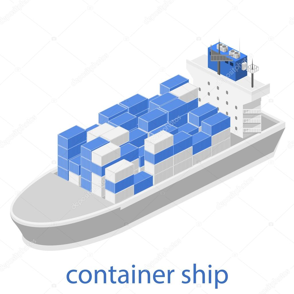 Isometric River Cargo Boat