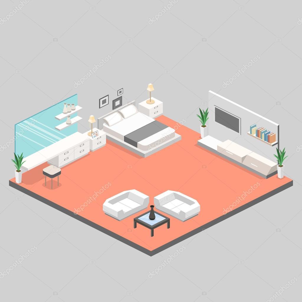 modern bedroom design in isometric style.