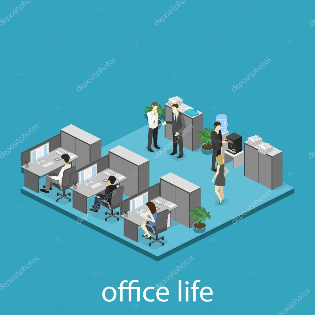 Isometric office floor interior departments