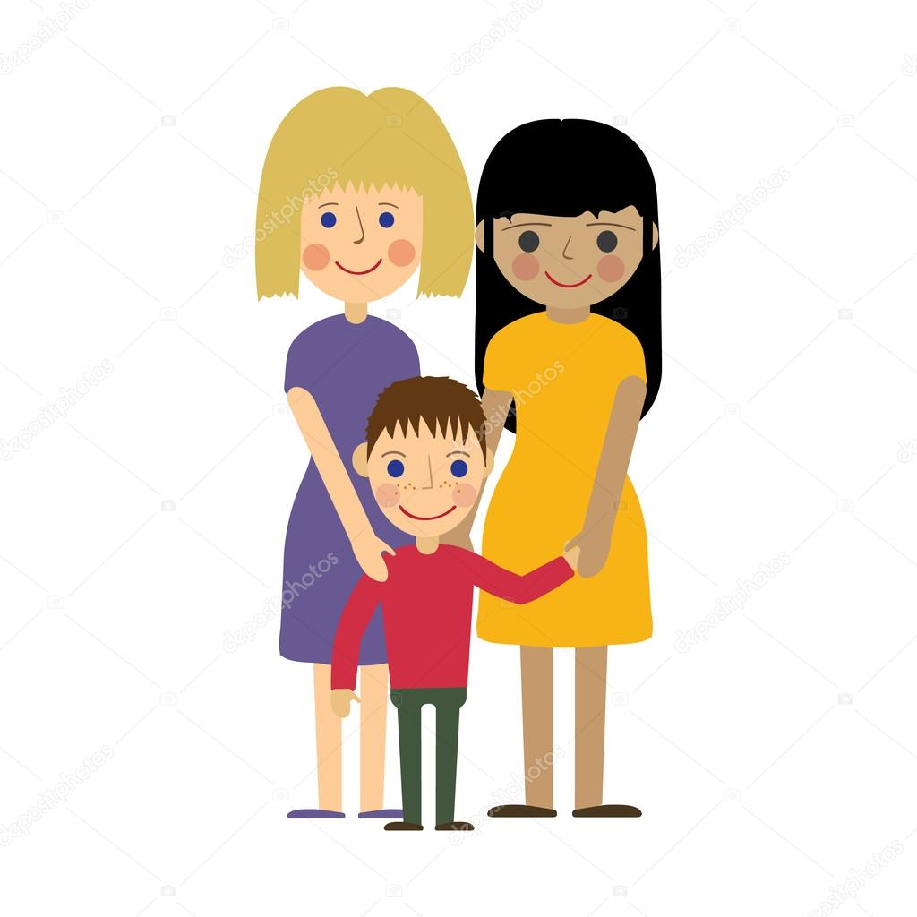 lesbian family with kid. gay parenting. — stock vector