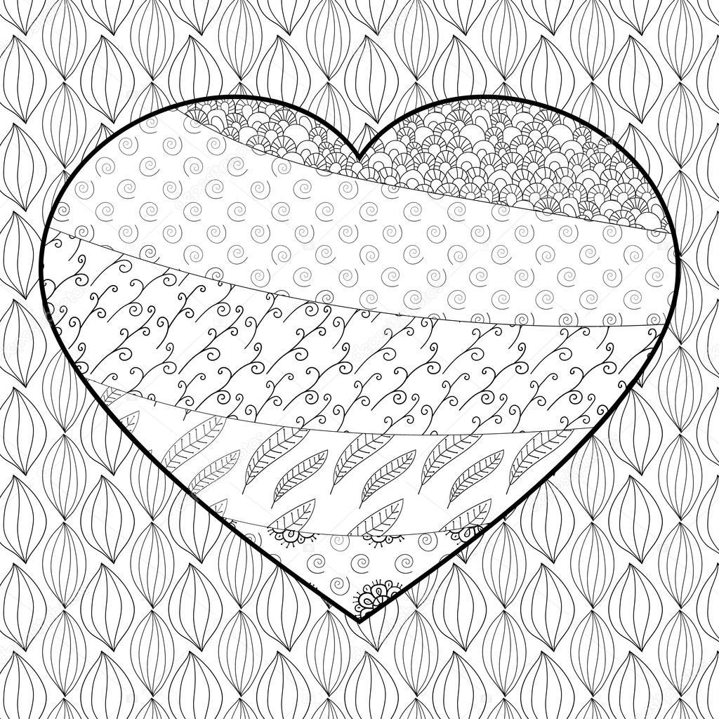 Página de adultos para colorear de corazón — Vector de stock ...