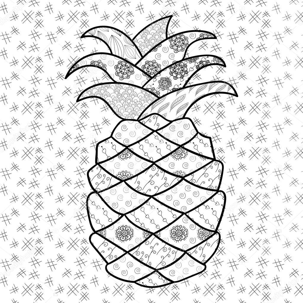 Pagina Da Colorare Adulto Ananas Vettoriali Stock C Ukiartdesign