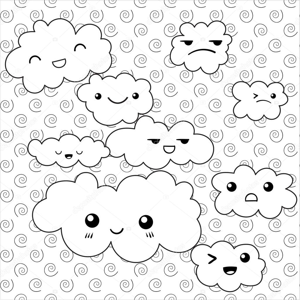 Nubes lindas página para colorear — Vector de stock © UkiArtDesign ...