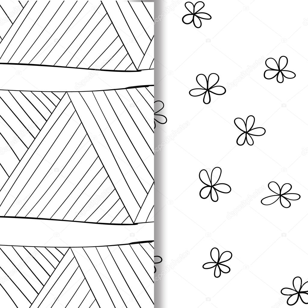 Set of seamless doodle patterns. Hand-drawn decorative elements in vector. Pattern for coloring book. Black and white zentangle pattern.