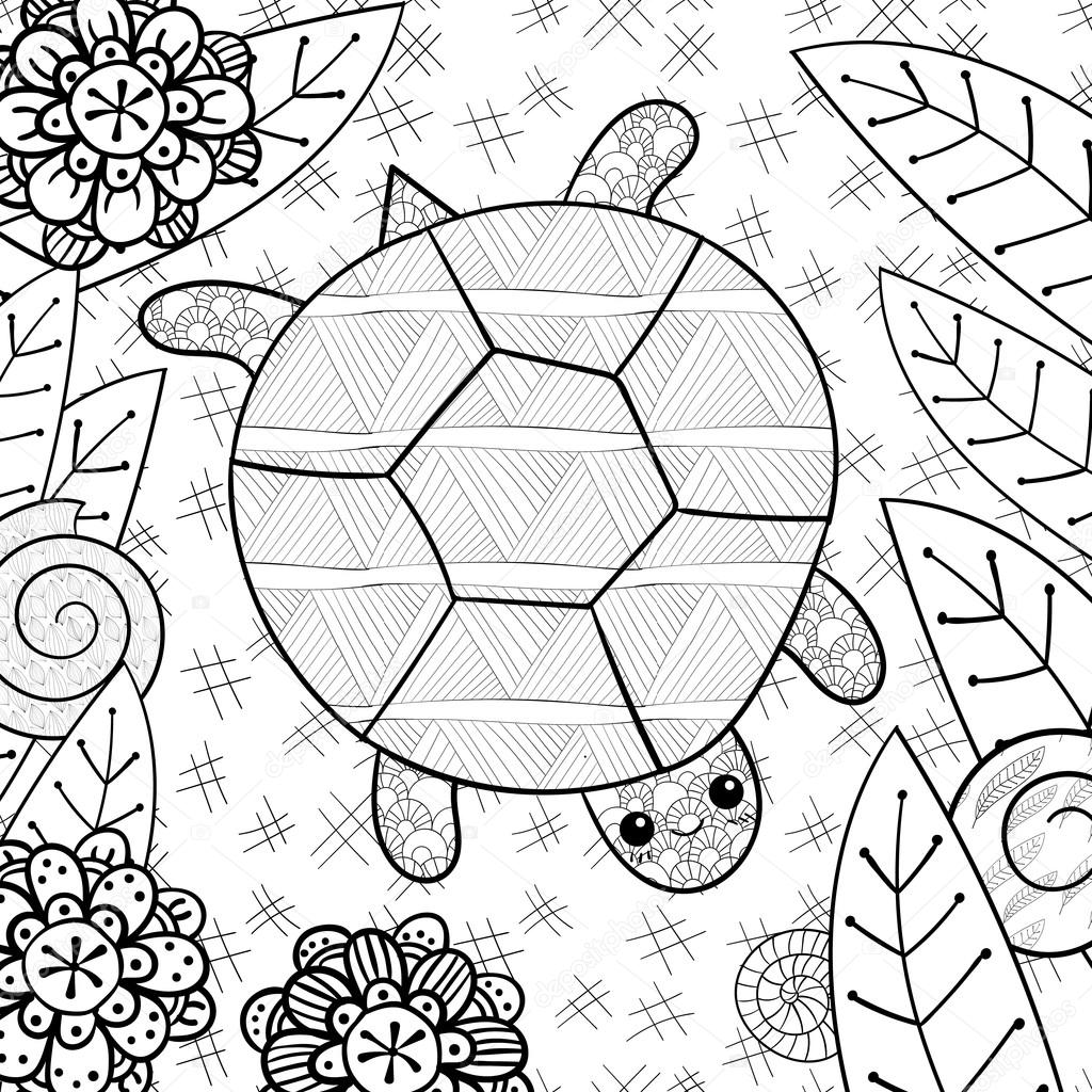 Adult Coloring Turtle Cute Turtle In Garden Adult Coloring