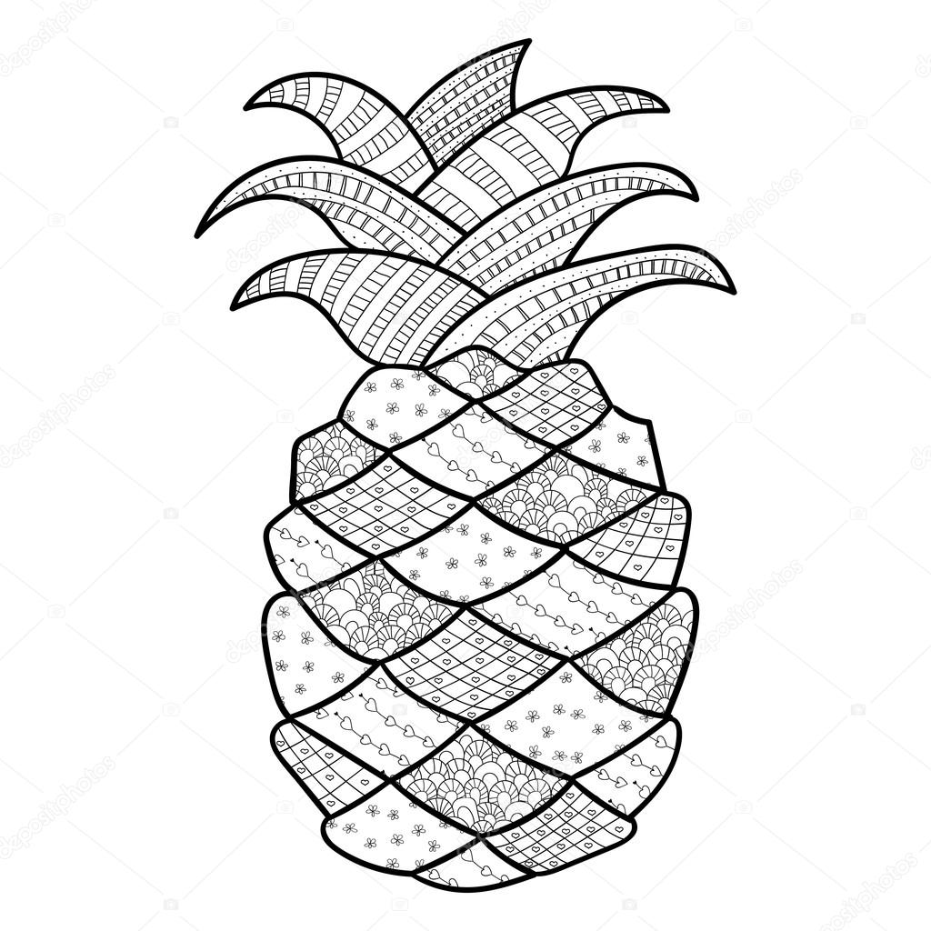 Pineapple Coloring Page Pineapple Adult Coloring Page