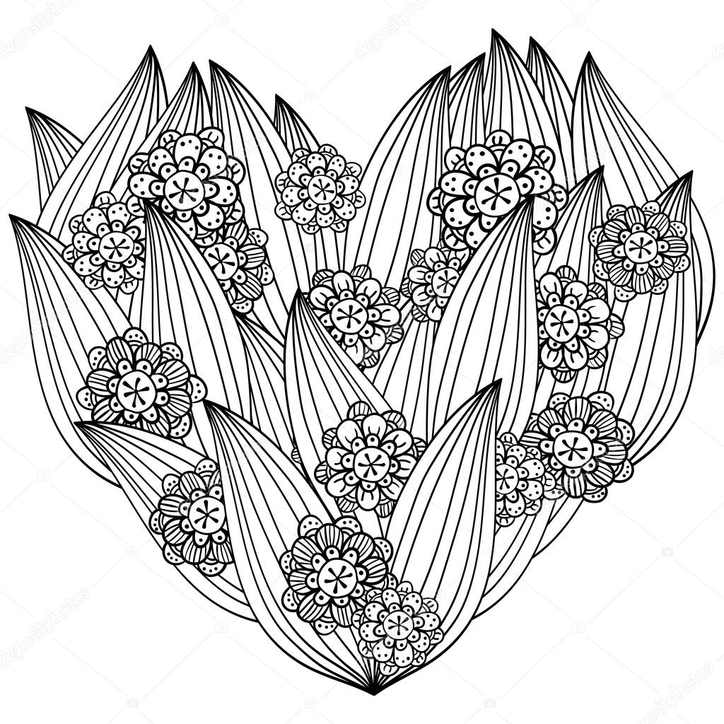 Erwachsene Malvorlagen Herz — Stockvektor © UkiArtDesign #111341302