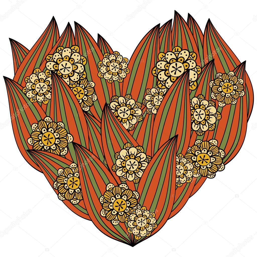 Coloriage De Coeur En Couleur.Coeur Couleur En Zentangle Style Les Feuilles Et Les Fleurs