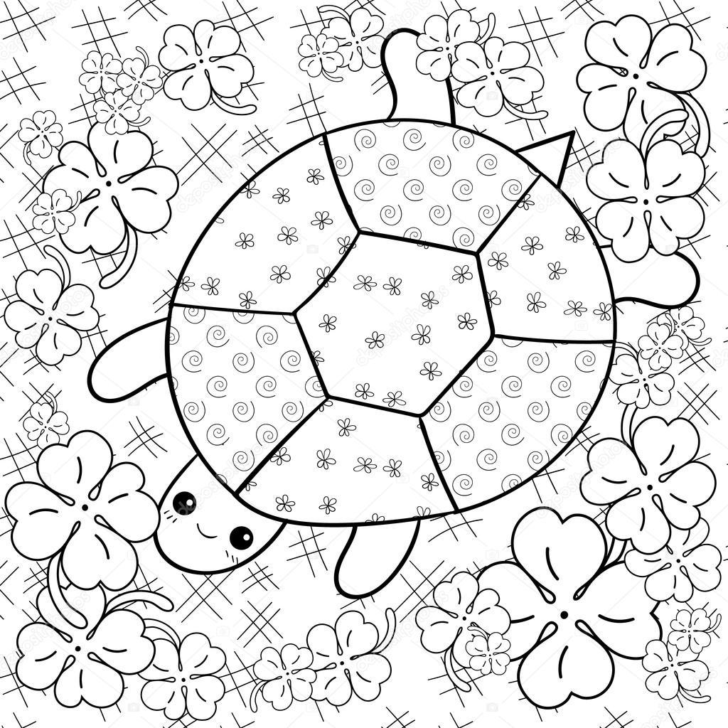 Schildkröte Himmel Erwachsenen Buch Malvorlagen. Schildkröte im Klee ...