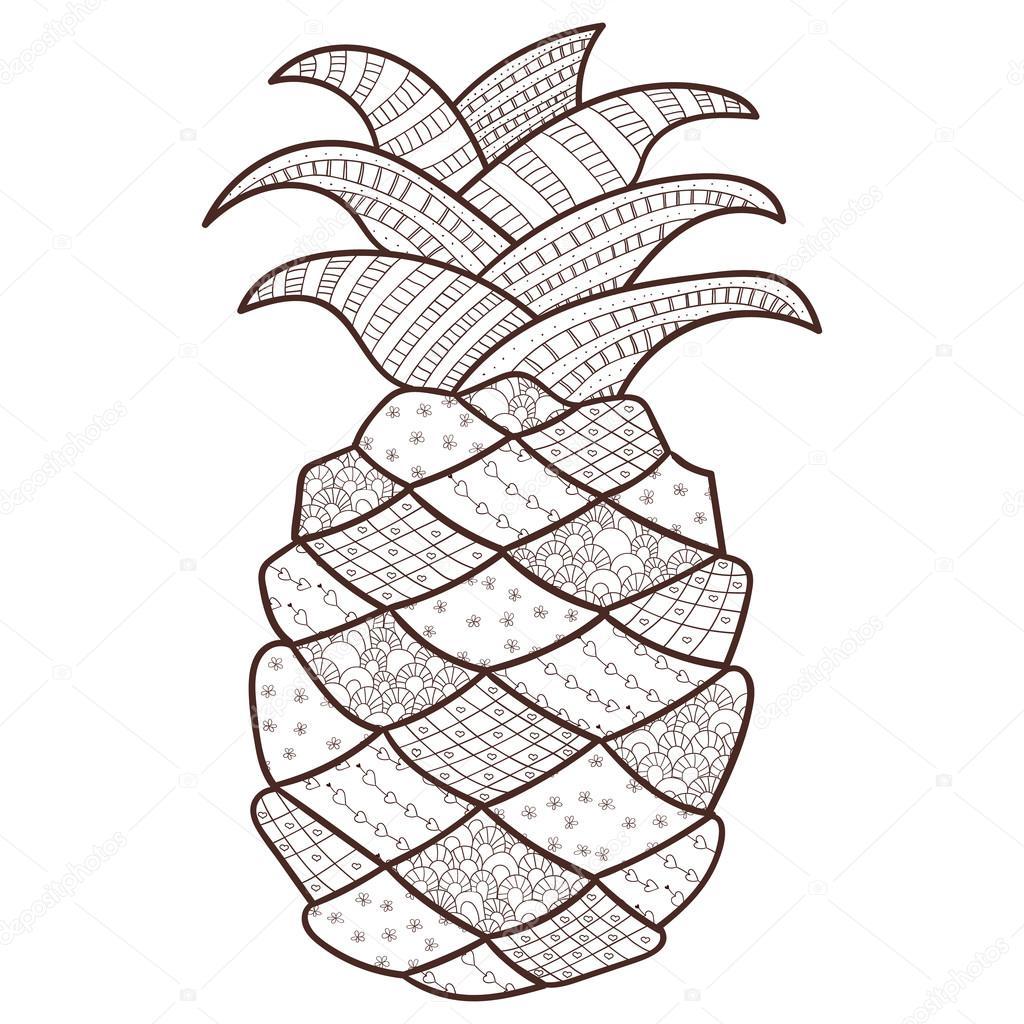 Pagina Da Colorare Adulto Di Ananas Whimsical Linea Arte
