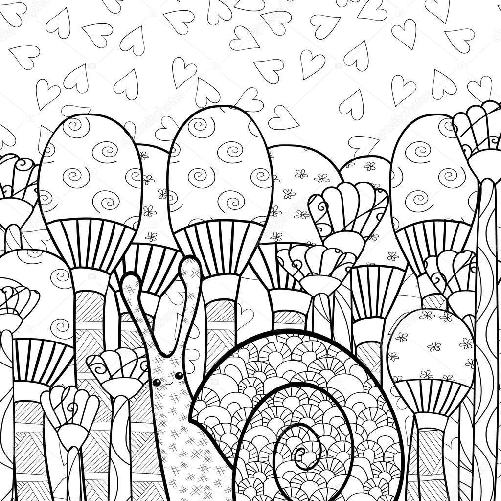 Coloriage Adulte Foret.Escargot Mignon Dans La Foret Champignon Adulte Livre
