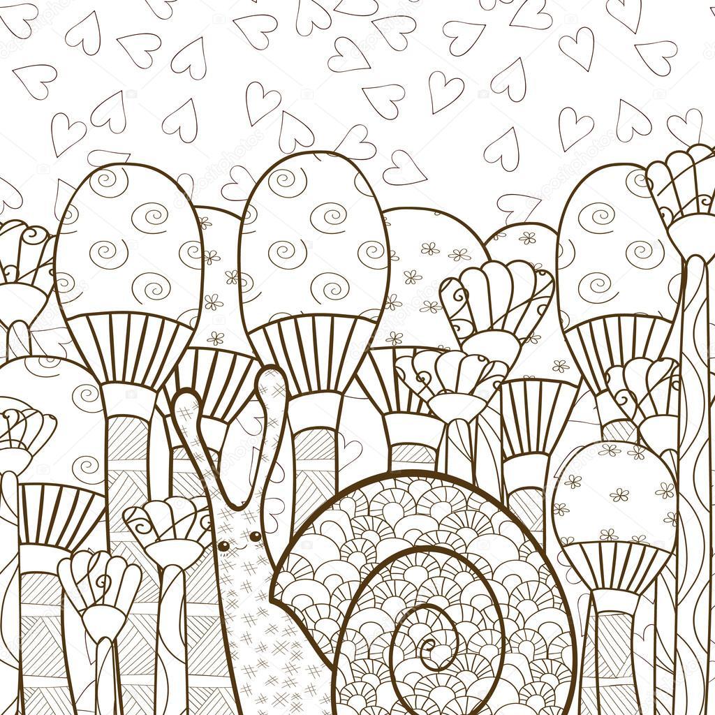 Lindo caracol en bosque hongo adulto página de libro para colorear ...