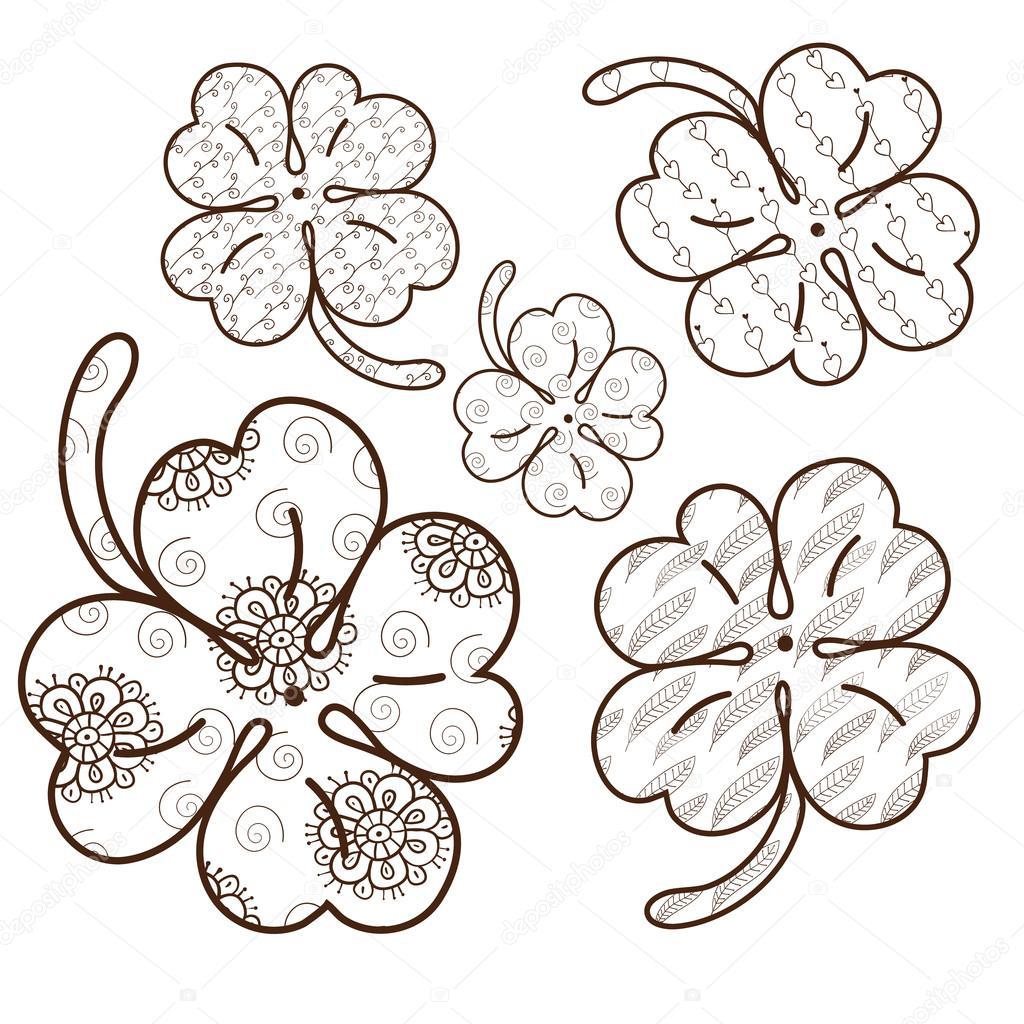 Trébol de hojas página para colorear de adultos. 5 patrones ...