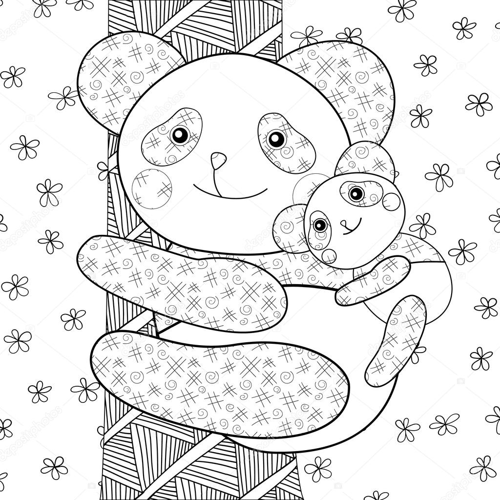 Panda-Kind Buch Malvorlagen — Stockvektor © UkiArtDesign #112527148