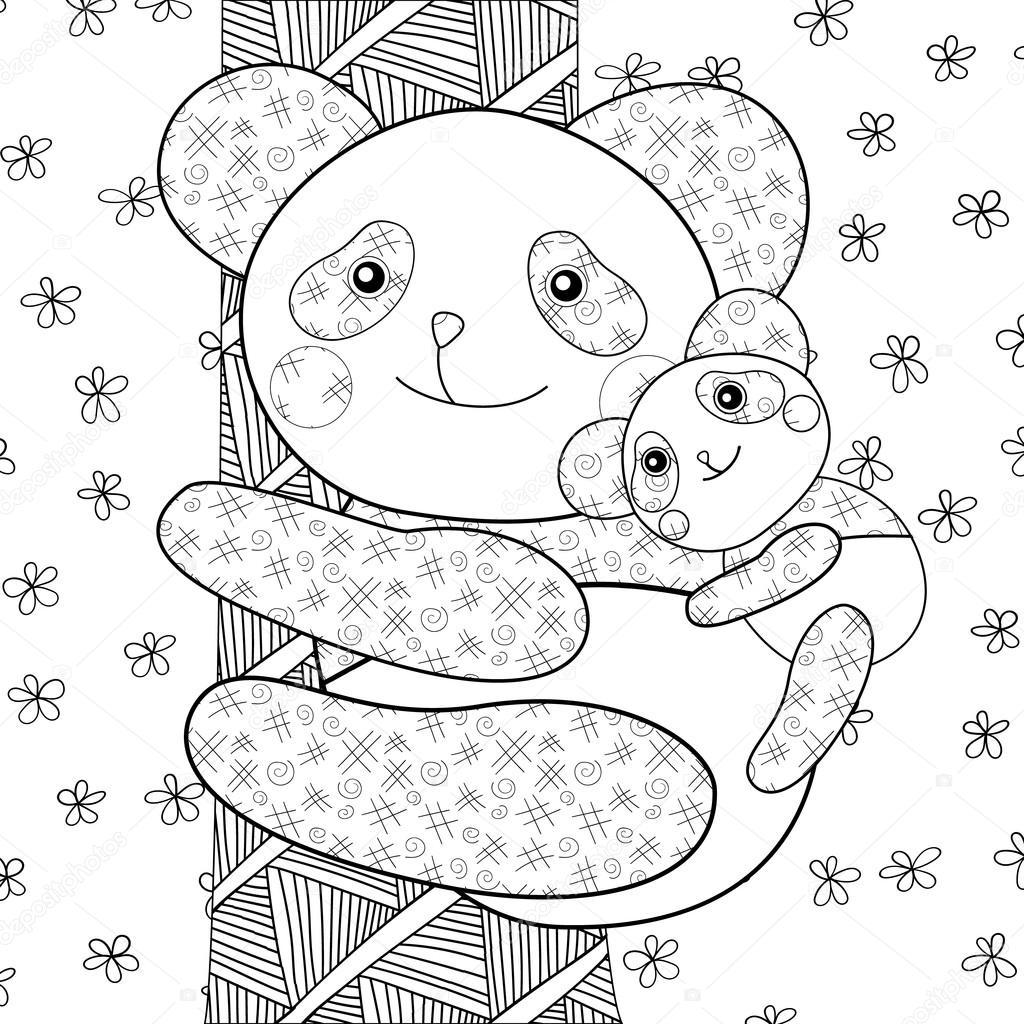 panda kid fotoboekpagina kleurplaten stockvector