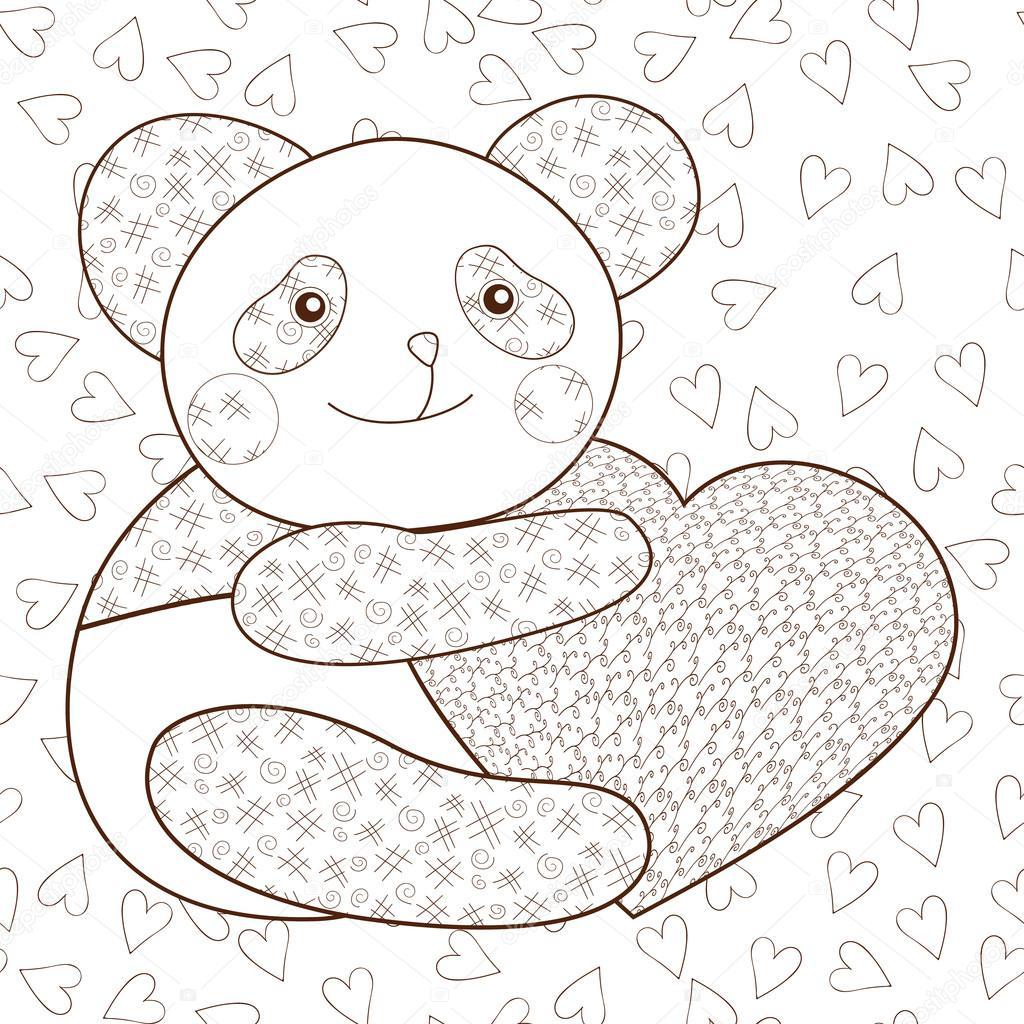 Kleurplaten Een Hart.Panda Met Hart Kind Fotoboekpagina Kleurplaten Stockvector