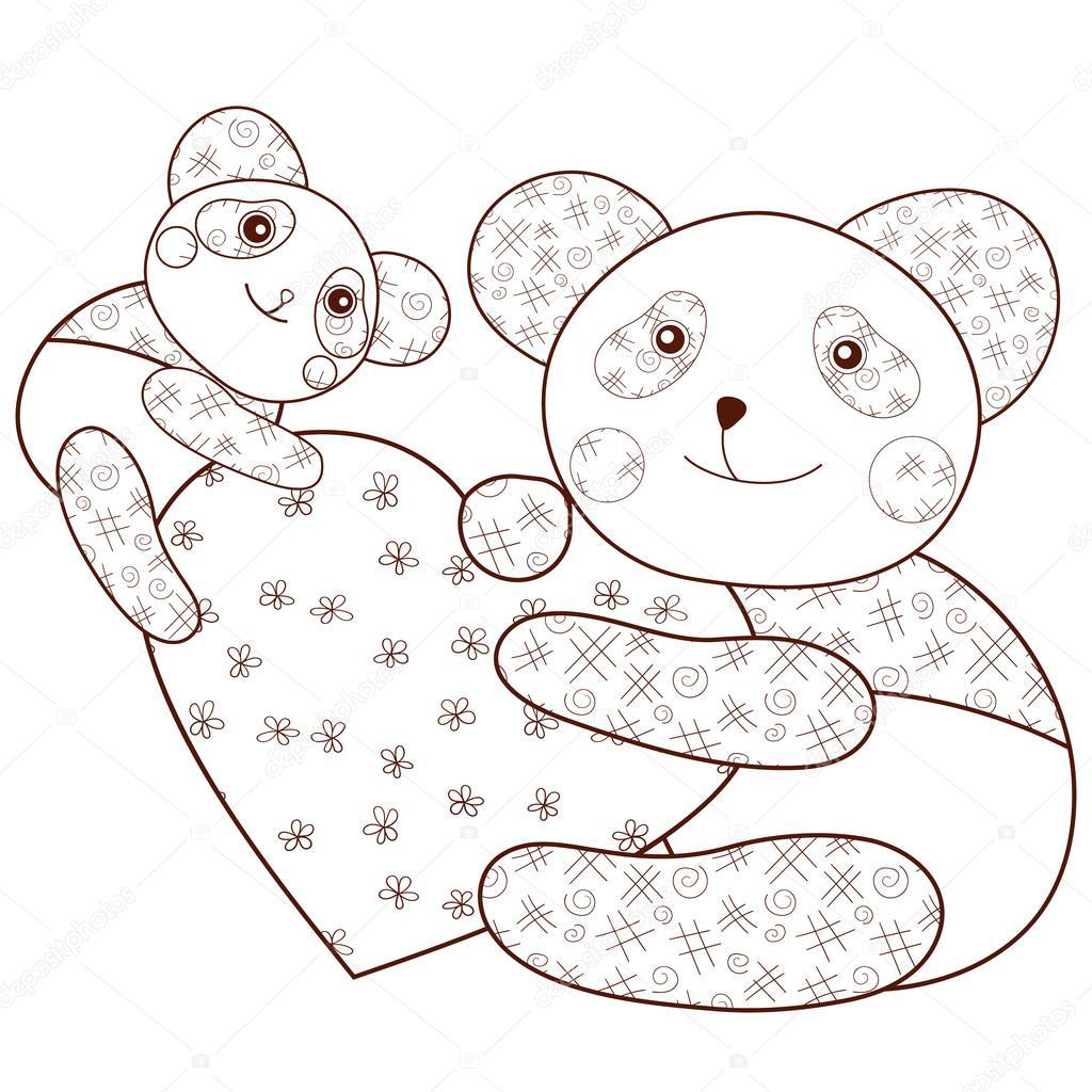 Panda avec petit coeur livre de coloriage contour marron - Dessin contour ...