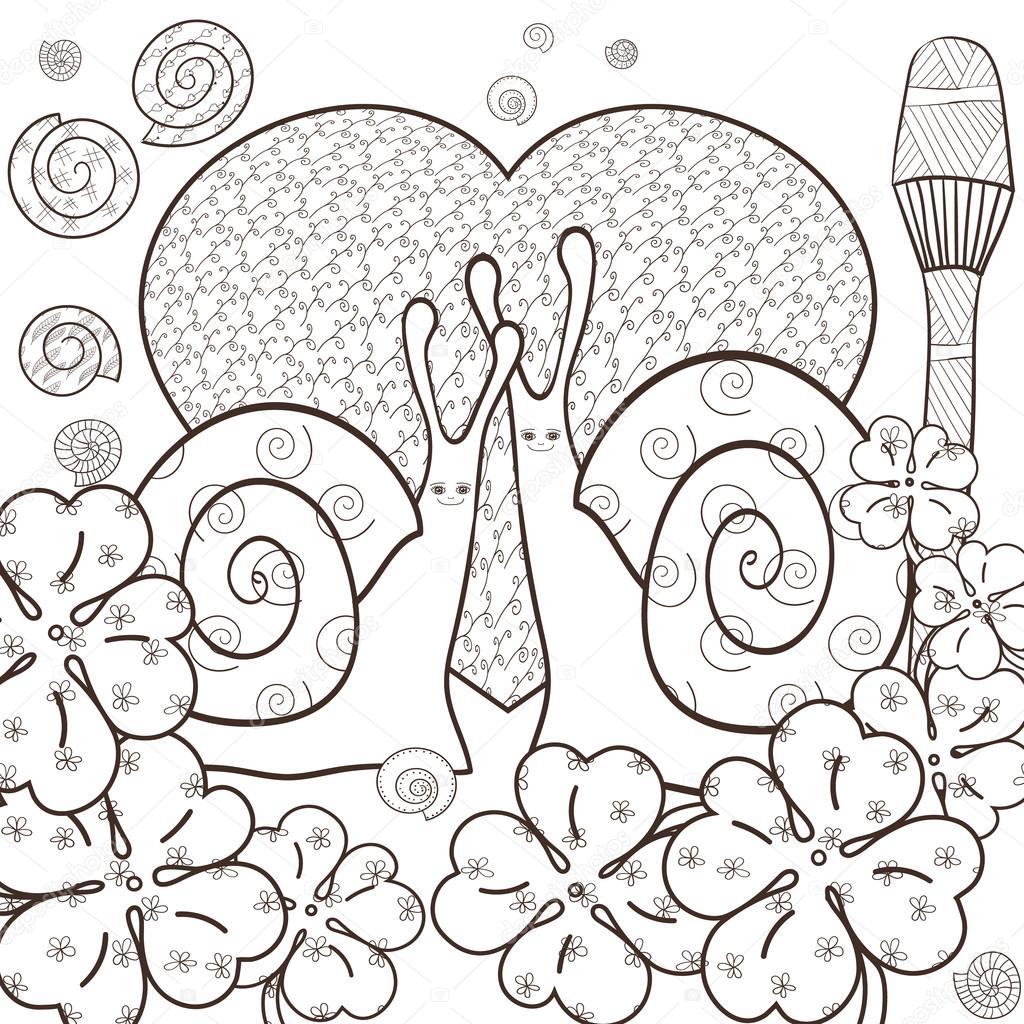 Coloriage Adulte Foret.Adulte Mignon Escargots Coloriage Livre Illustration