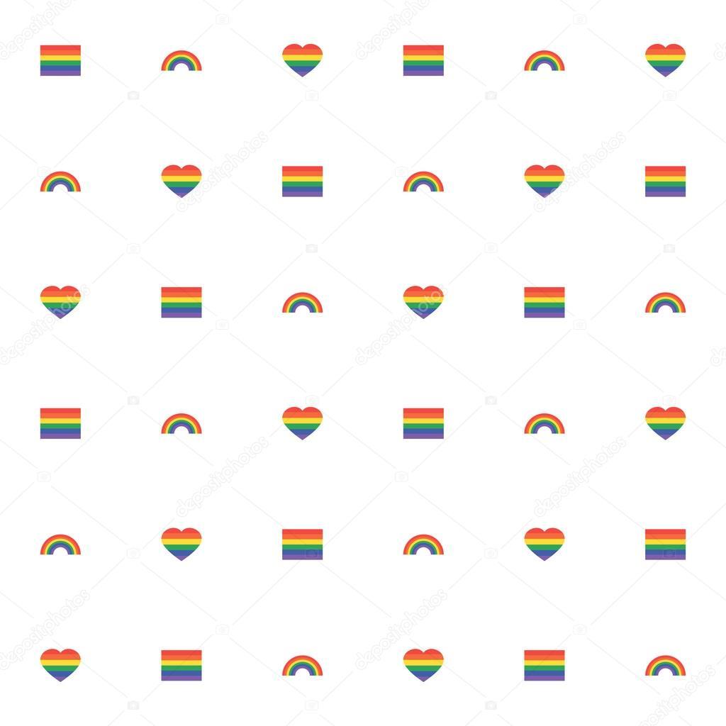 Patrón sin fisuras con corazón de arco iris y la bandera para web ...