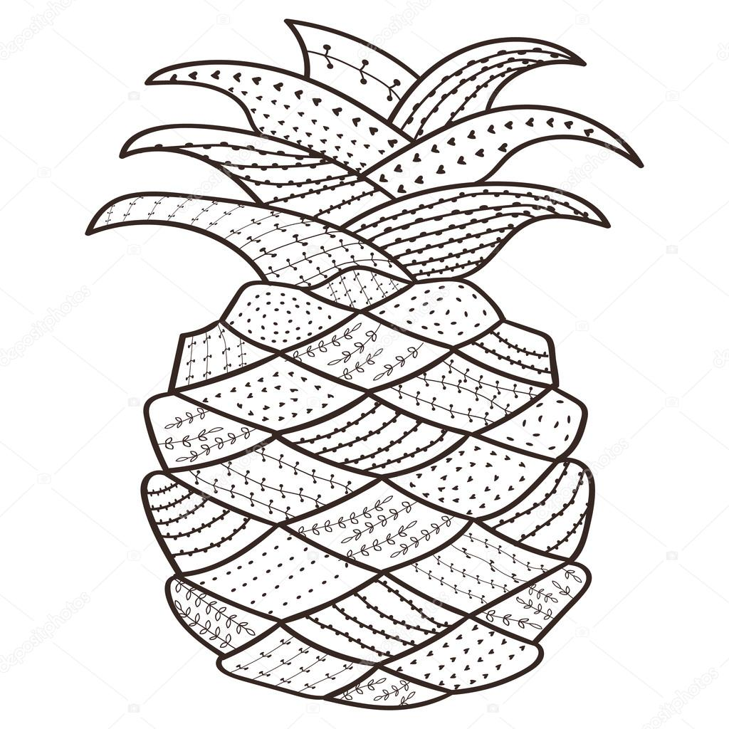Kitap Sayfa Ananas Boyama Yetişkin Havai Hat Sanatı Antistress