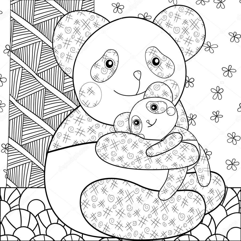 Onun Bebeği Sarılma Sayfa Sevimli Panda Boyama Havai Hat Sanatı