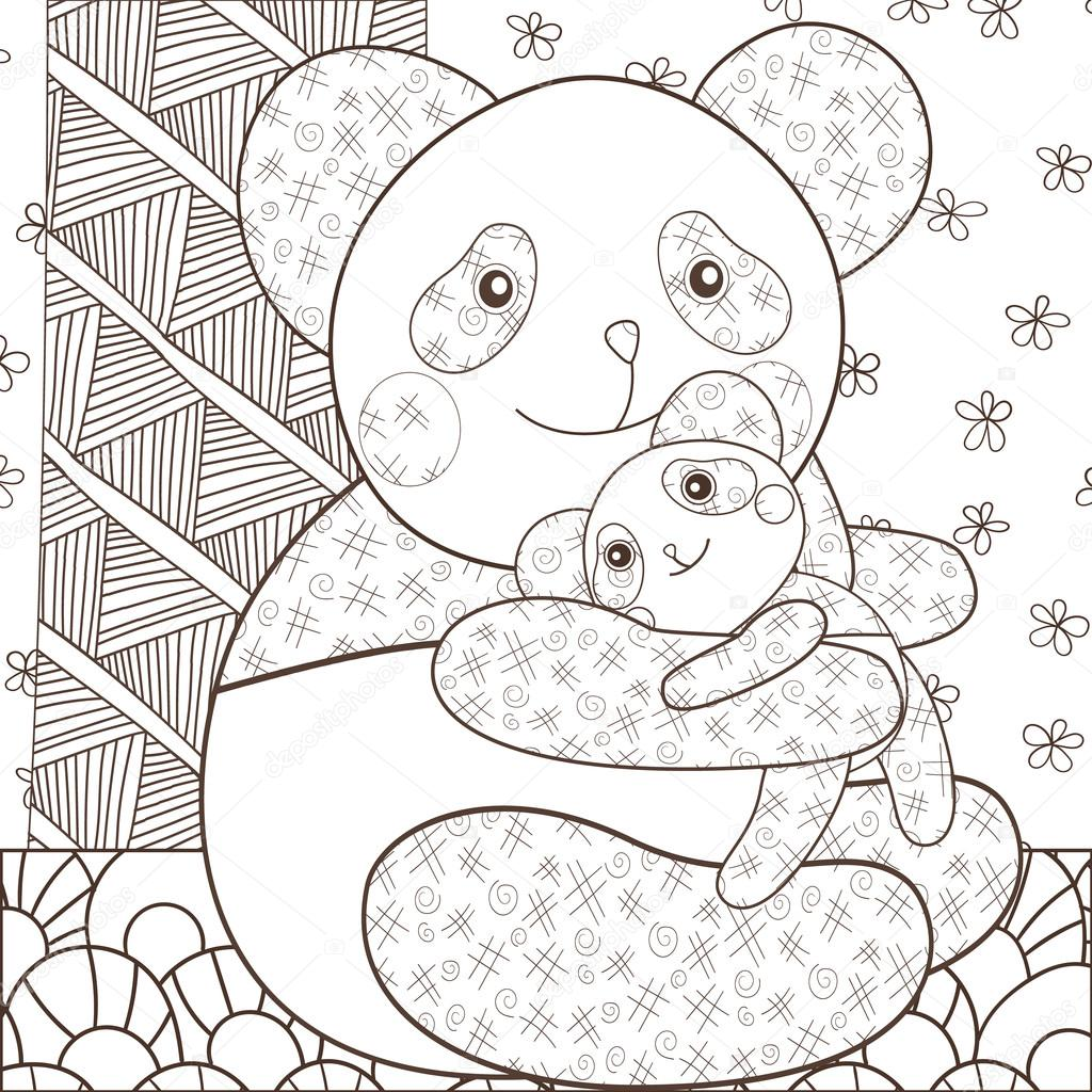 Kleurplaat Pagina Schattige Panda Knuffelen Zijn Baby Grillige Lijn