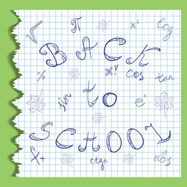 Back to School. Hand Drawn Letters, Mathematics Symbols and Maple Leaves.Scribbles on the Rippled Sheet of Copybook in a Cage. Doodle Style.