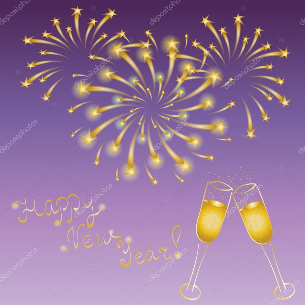 happy new year hand drawn golden couple of wineglasses and firework perfect for your