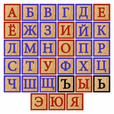 Russian alphabet on colorful wooden cubes isolated