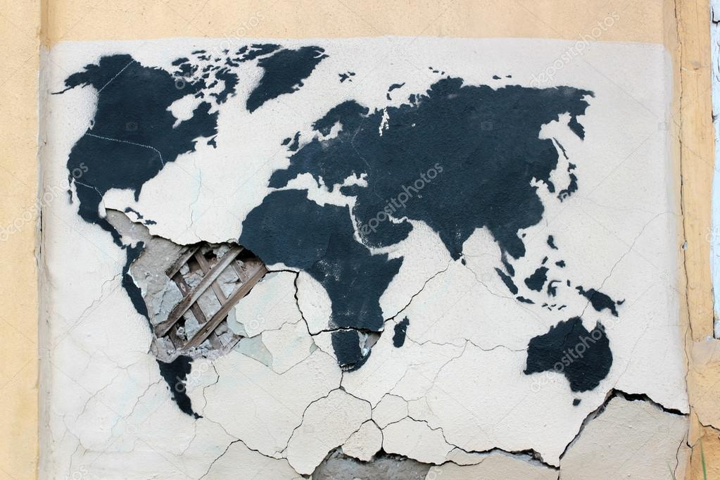 Graffiti world map on the old ruined wall stock photo psareva graffiti world map on the old ruined wall stock photo gumiabroncs Choice Image