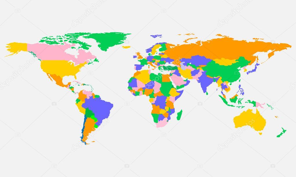 Colorido mundo mapa con países de diseño vectorial — Vector de stock ...