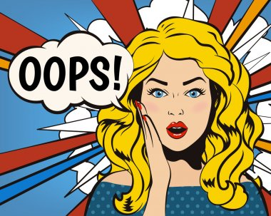 Oops Woman! Oops face. Surprised woman. Pop art girl. Ooops emotion. Comic woman. Oops concept illustration. Shocked woman with open mouth. Surprised face. Panic stress comic girl. Oops speech bubble.