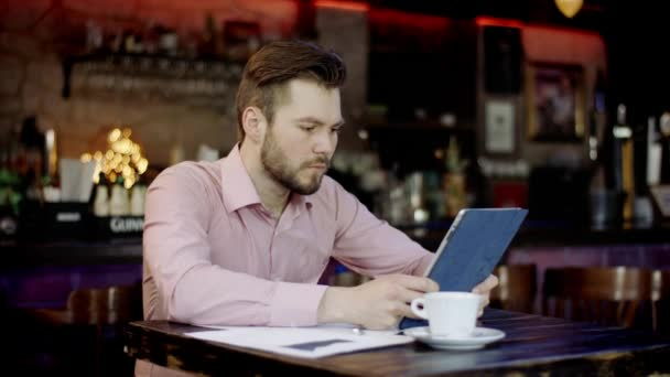 young business men is working in a bar