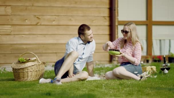 happy couple on a picnic