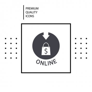 Premium quality icon. Shopping bag icon. Concept of online shopping. Vector icon
