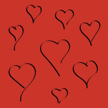 Heart shapes on a bright red background. Symbol of love. icon