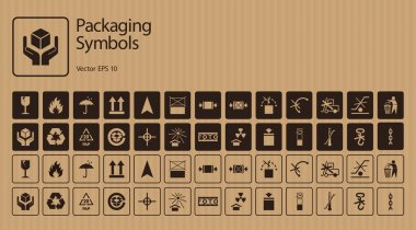 Vector packaging symbols set on cardboard background including Don't roll, Don't litter, Clamp here, Use no hand truck, No forklift truck and other