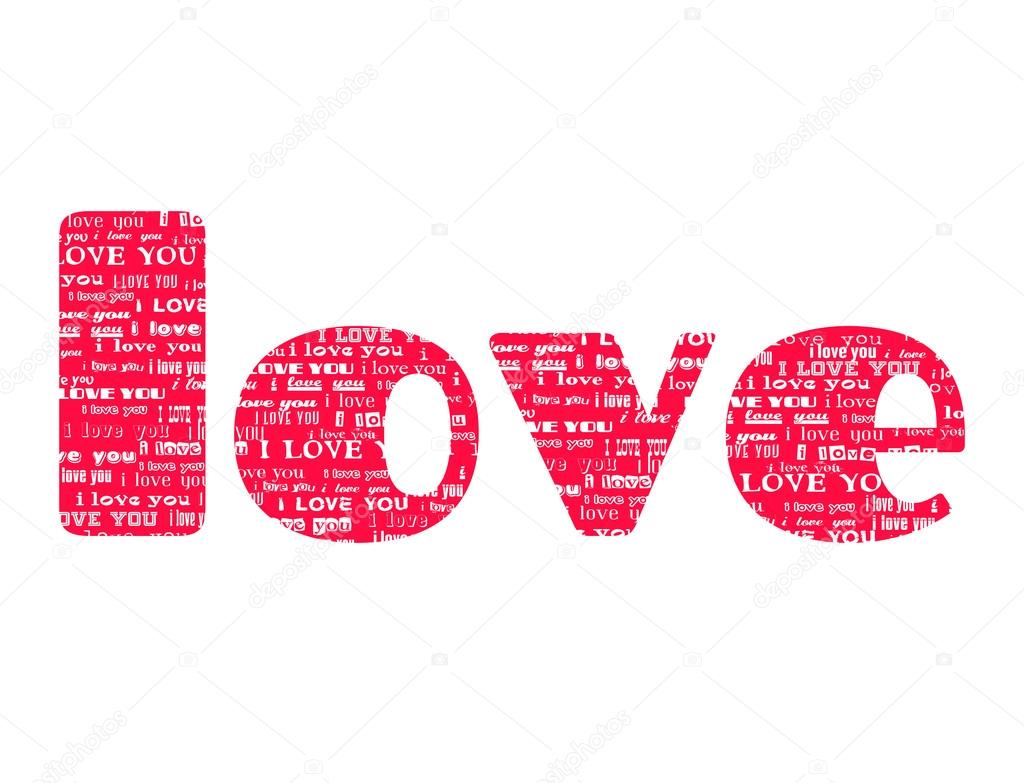 Big Pink Word Love Isolated On White Background Filled Text I Love Youwith Different Fonts Vector Il Ration Design Concept For Valentines Day And