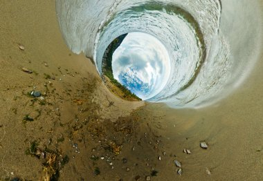 Stereographic panorama of Lake Baikal from the beach rocks in pr